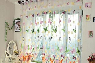 Butterfly Print Sheer Window Curtains Home Decoration | Creative