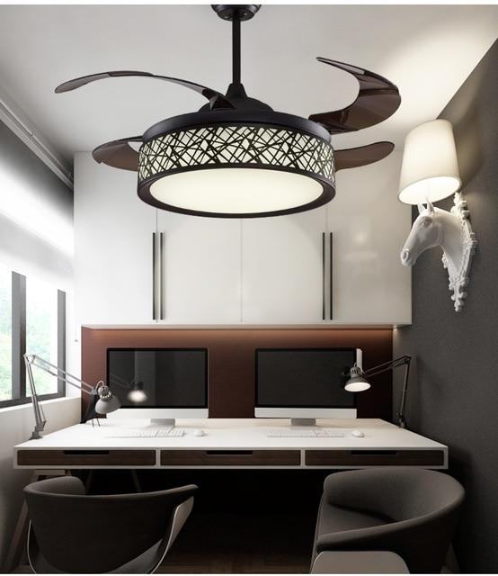 Remote control fan lamp ceiling fan light simple modern bedroom