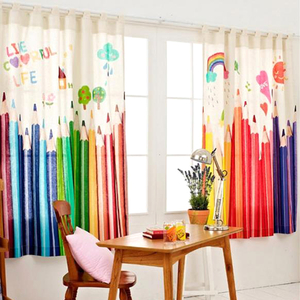 Korean Style Kids Curtains Cartoon Colorful Pencils Print