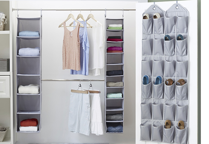 Closet with over-the-door organization