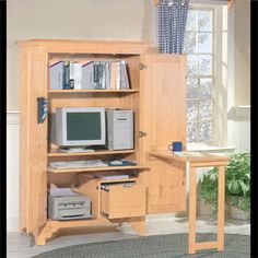 #ComputerArmoire Unfinished Pine : Computer Armoire Center. This is our  bestselling computer center!
