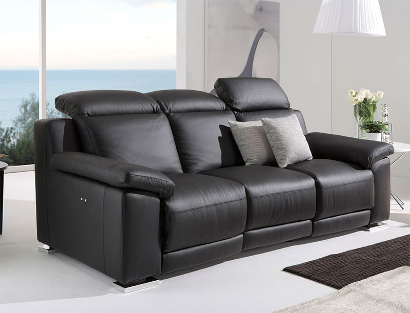 Contemporary Leather Sectional With Recliner