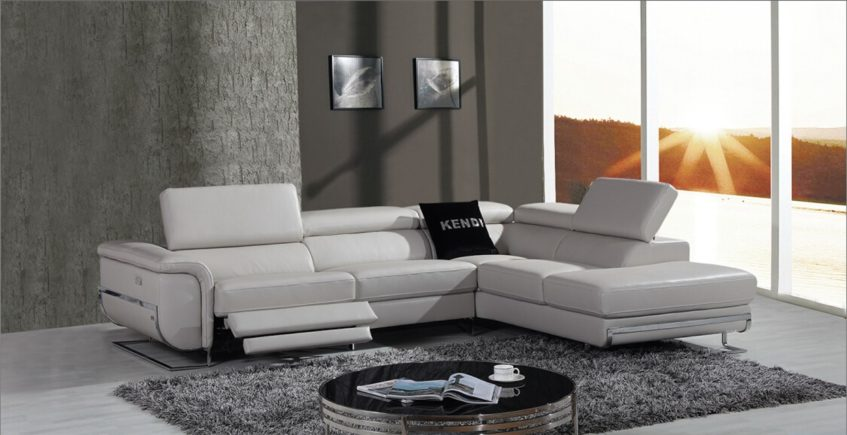 Chic Grey Leather Reclining Sofa Saffron Modern Leather Sectional