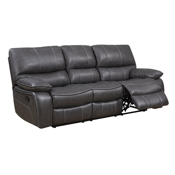 Shop Grey Leather Reclining Sofa - Free Shipping Today - Traveller Location -  11483090