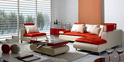 Image Unavailable. Image not available for. Color: B 205 Modern Contemporary  White And Red Leather Sectional Sofa Set
