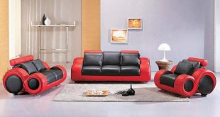 Genuine and Italian Leather, Modern Designer Sofas. Contemporary Black and Red  Leather Sofa Set
