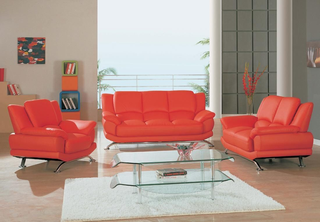 Quality Bonded Leather, Modern Designer Sofas. Contemporary Red Leather  Sofa Set 2818
