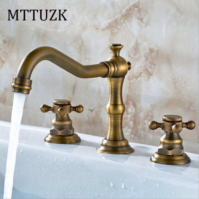 MTTUZK Antique Copper bathroom faucet for hot and cold Mixer tap