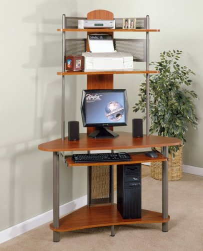 Small computer desk with shelves