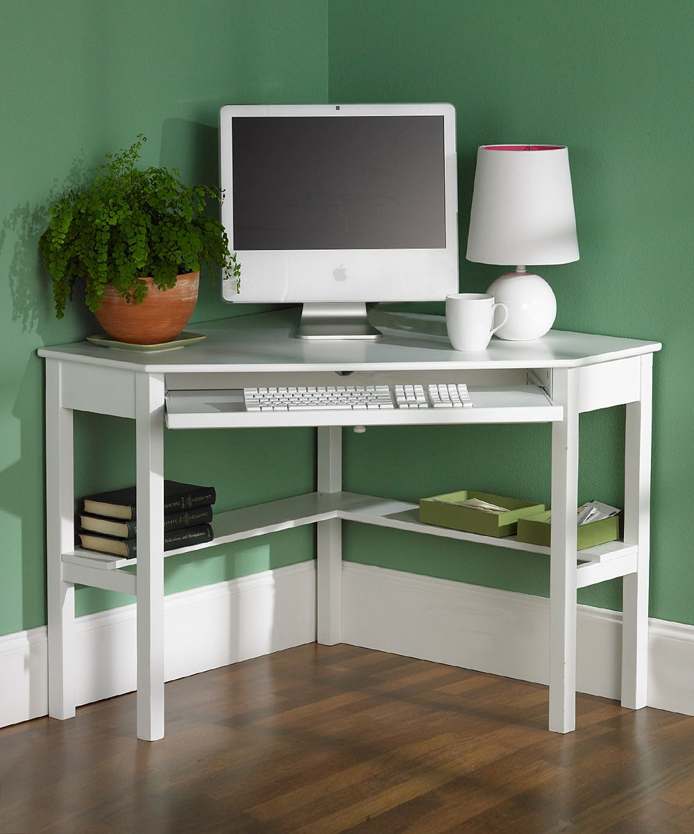 White Corner Computer Desk - perfect for a small space.