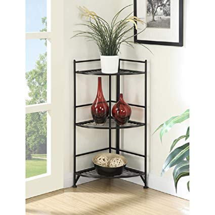 Corner Shelf Folding Organizer Storage Home Furniture Living Room Bookcase  Stand 3 Tier Corner Rack Shelf