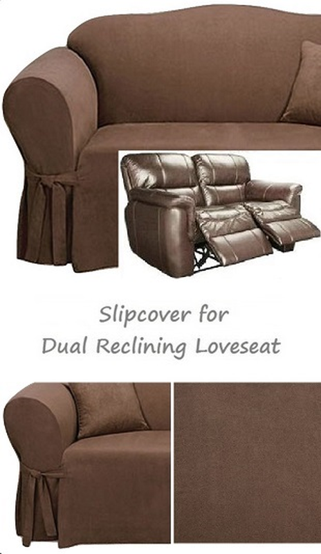 Dual Reclining LOVESEAT Slipcover Suede Chocolate Adapted for Recliner Love  Seat