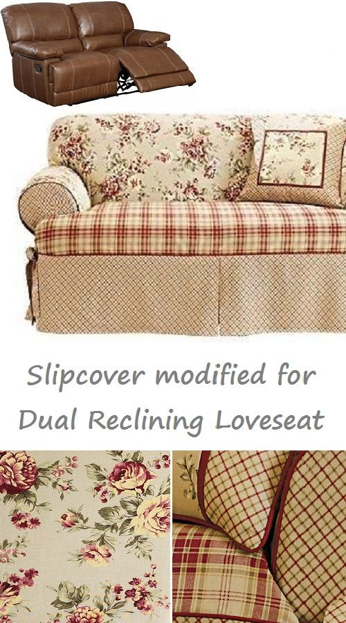 Dual Reclining LOVESEAT Slipcover T Cushion Shabby Toile Red Adapted for  Recliner Love seat