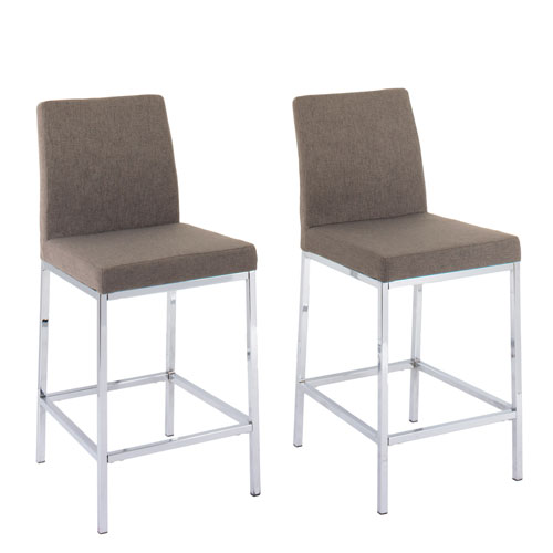 CorLiving Huntington Brown Fabric Counter Height Bar Stools With