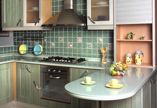 green ceramic tile backsplash