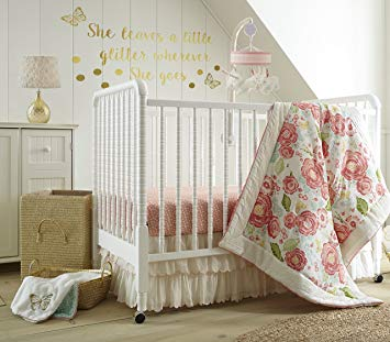 Levtex Baby Charlotte Coral and Cream Floral 5 Piece Crib Bedding Set, Quilt,  100