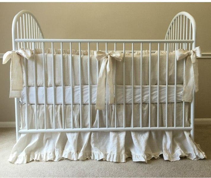 Cream Linen Baby Bedding Set - Ruffled Bumper, Sash Ties, Ruffled Crib Skirt