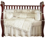 Champagne and Ivory Victoria Crib Bedding 9pc Crib Set