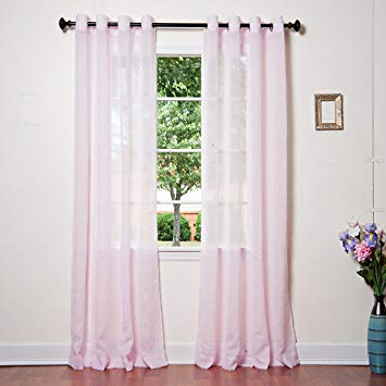 Best Home Fashion Crushed Voile Sheer Curtains - Antique Bronze Grommet Top  - Pink - 52&quot