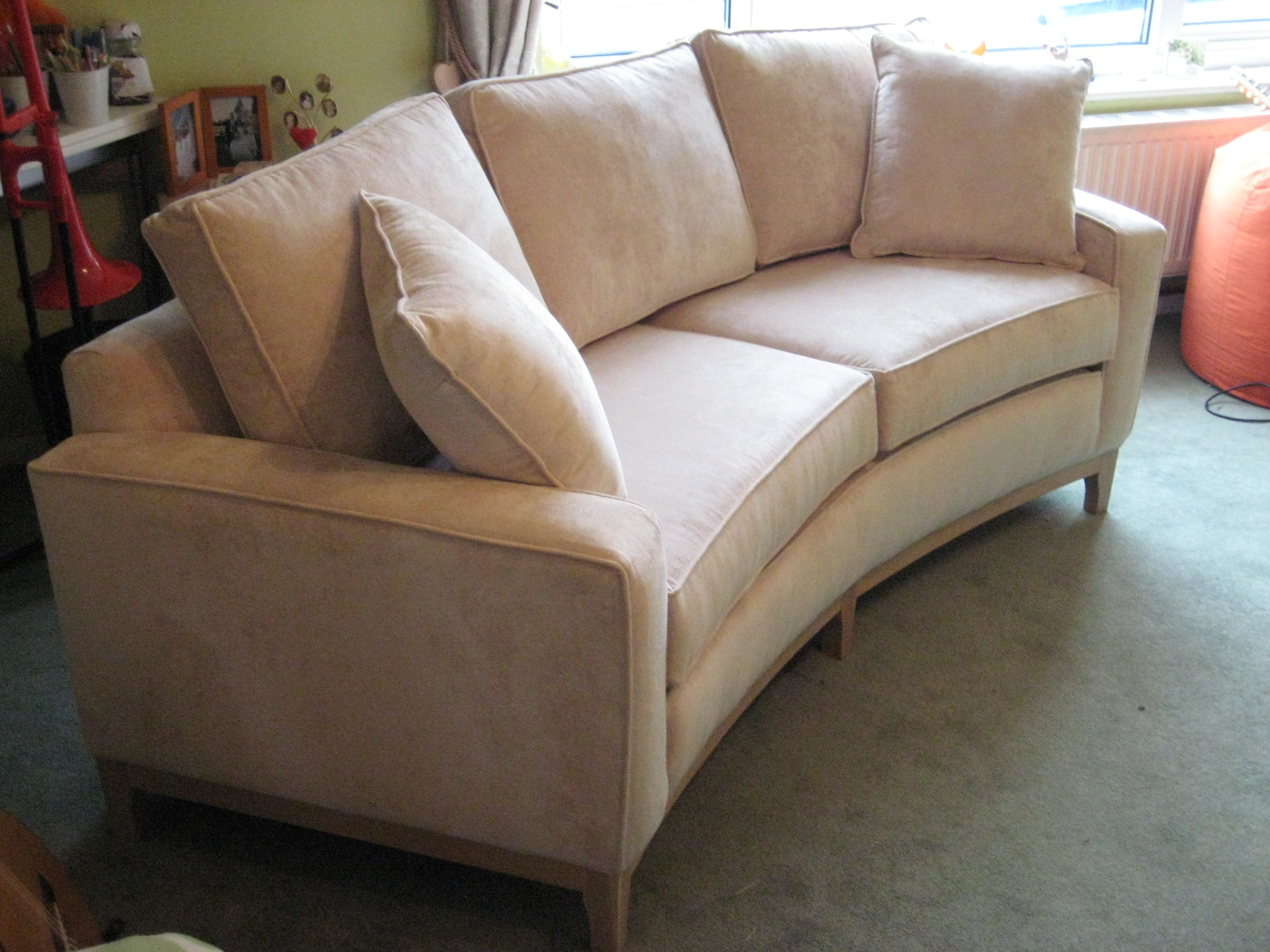Small curved sofa for a small upstairs living room - what a wonderfully  different use of the space. A it is bespoke it can actually be made to fit  exactly