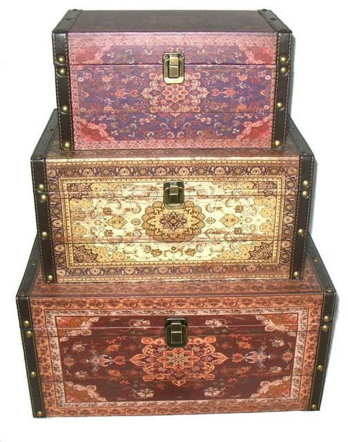 Oriental-Style Earth Tones Decorative Storage Boxes, Red/Brown/Creme