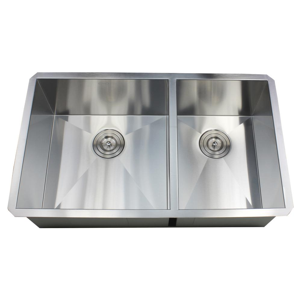 Kingsman Hardware Undermount 32 in. x 19 in. x 10 in. Deep Stainless
