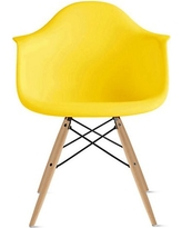 2xhome Yellow Mid Century Modern Plastic Dining Chair Molded With Arms  Armchairs Natural Wood Legs Desk