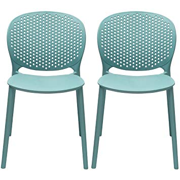 2xhome Set of 2 Blue Contemporary Modern Stackable Assembled Plastic Chair  Molded with Back Armless Side