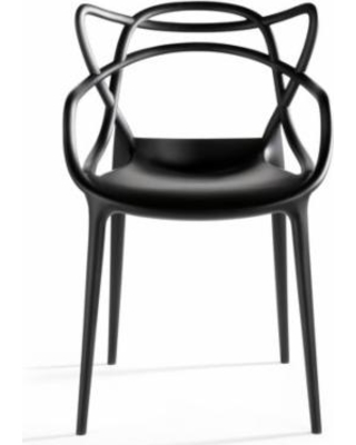 2xhome Black Stackable Contemporary Modern Designer Molded Plastic Chairs  Assembled With Arms Open Back Armchairs for