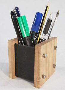 Image is loading Oak-Slate-Design-Pen-Pot-Desk-Tidy-Modern-