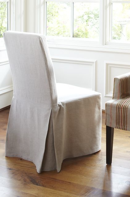 IKEA Dining Chairs Slipcovers | henriksdal linen slipcover with long skirt  in lino brushed