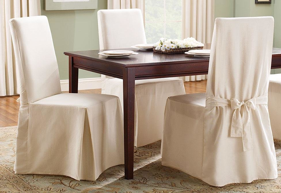 Sure Fit Cotton Duck Box Cushion Dining Chair Slipcover & Reviews | Wayfair