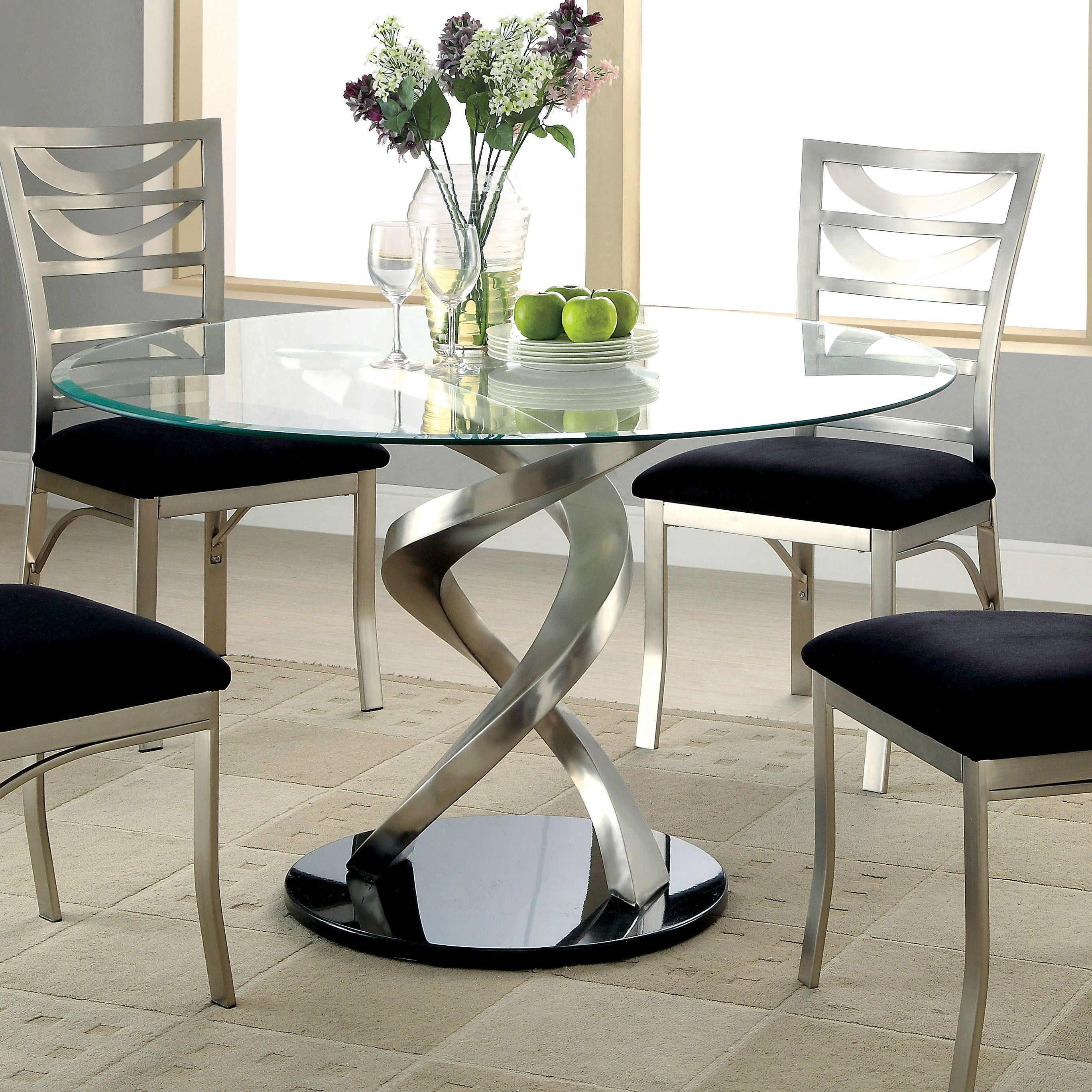Furniture of America Sculpture I Contemporary Glass Top Round Dining Table  (Satin), Silver