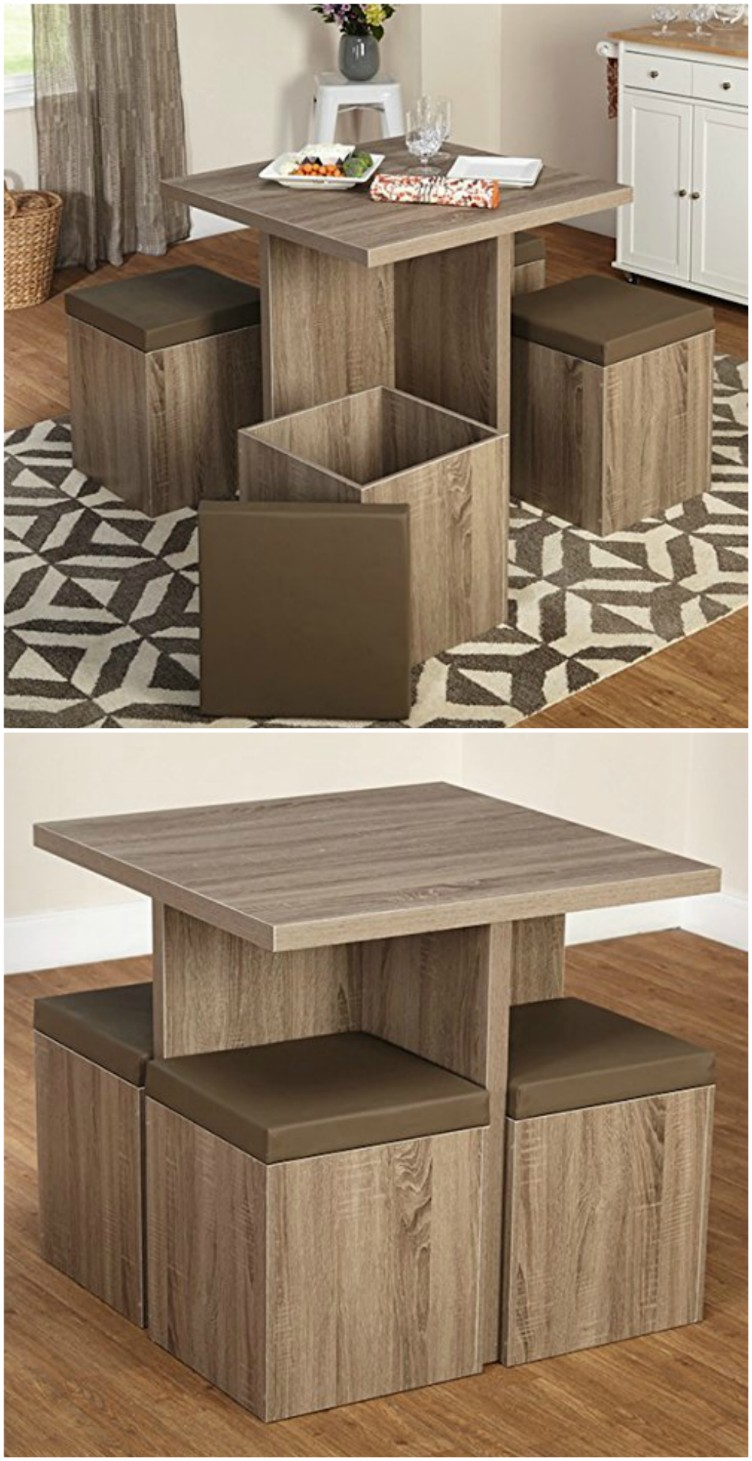 Dining table with four storage ottomans ($182.31). This small table is  ideal for apartments or small homes with limited space . Find it here