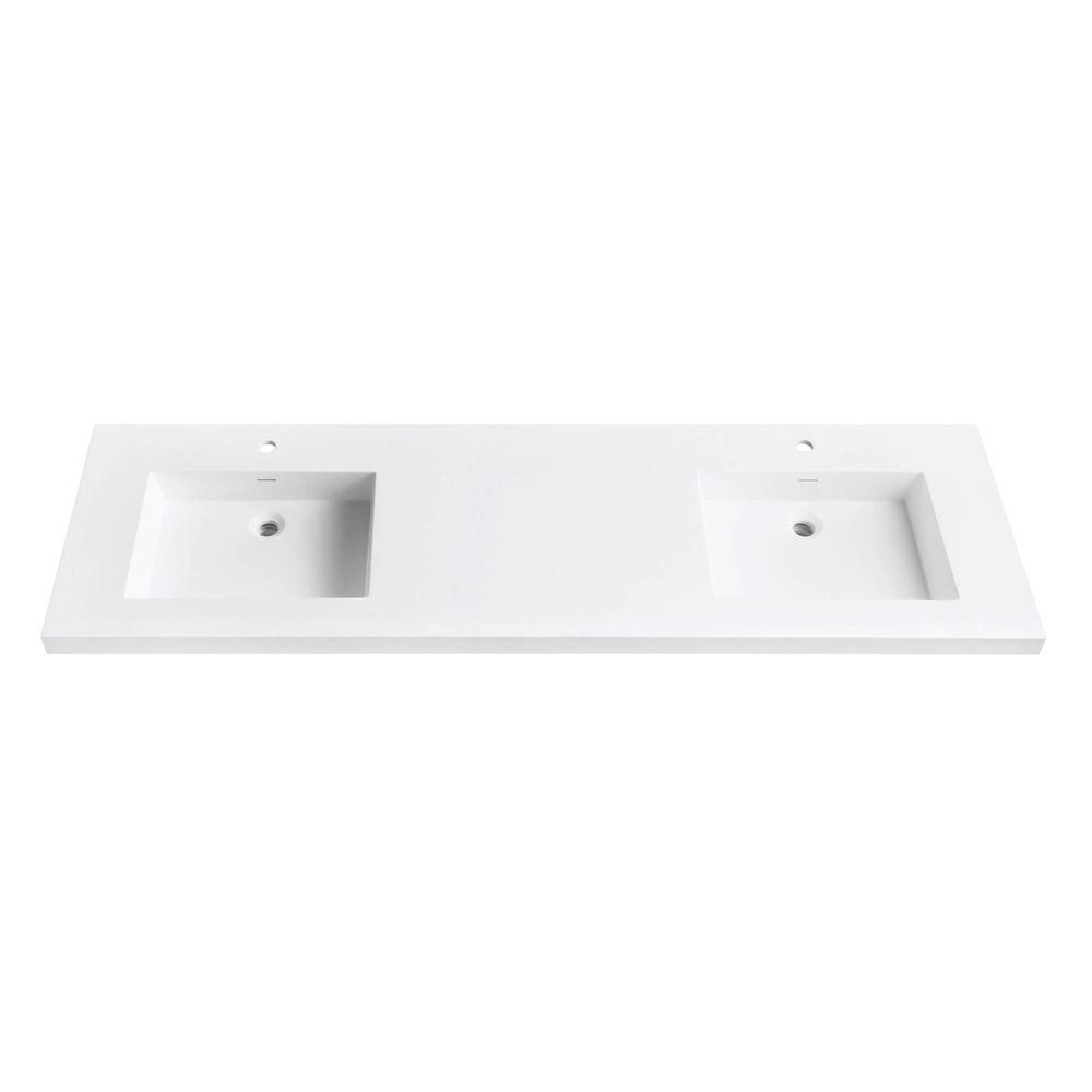 Solid Surface Vanity Top with Integrated Double 22 in. Deep Bowl in Matte  White