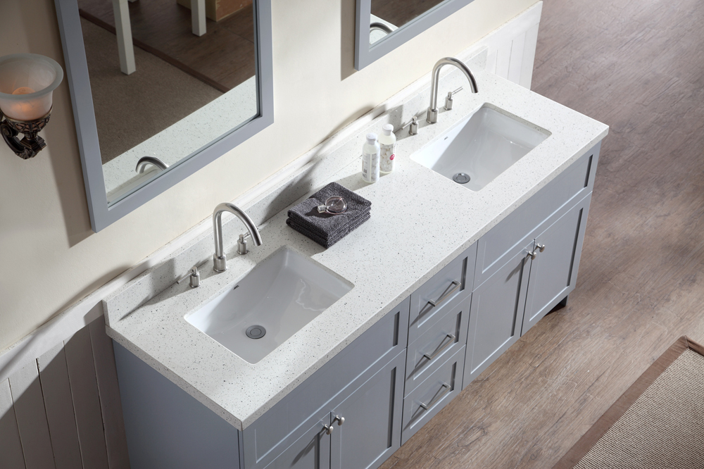 White Quartz Double Sink Vanity Top