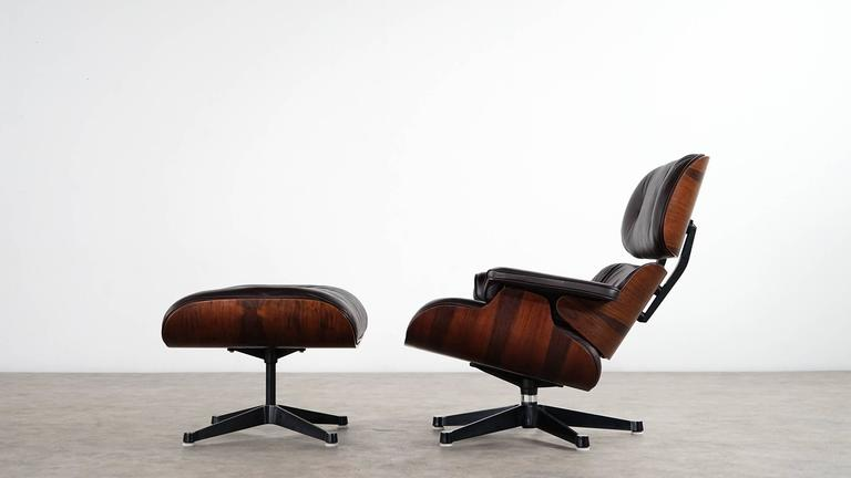 Charles Eames Lounge Chair and Ottoman, Rosewood and Brown Leather
