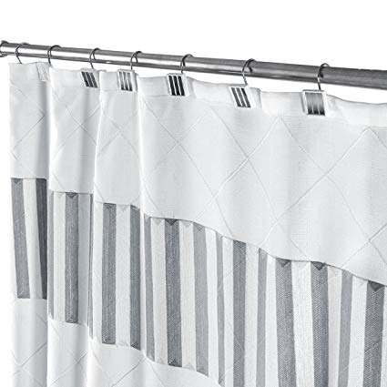 Amazon.com: Decorative Fabric Shower Curtain White and Gray