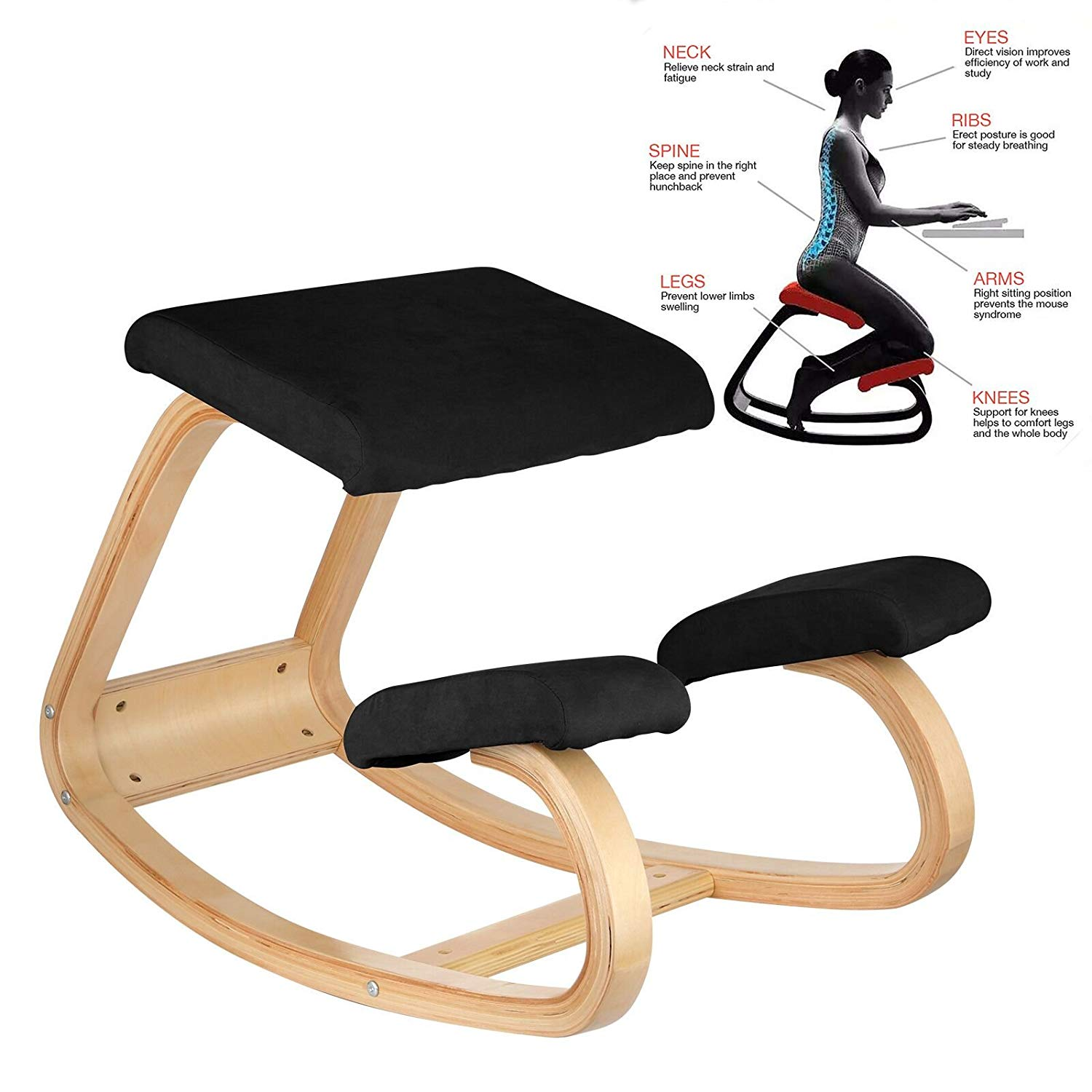 BestEquip Ergonomic Kneeling Chair Beech wood Ergonomic Kneeling Office  Chair Perfect for Body Shaping and Relieving