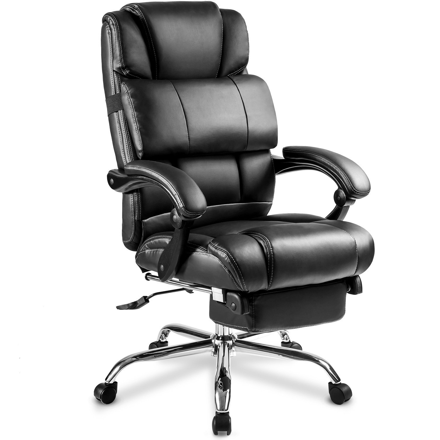 Merax Ergonomic Leather Big & Tall Office Chair with Footrest, Black