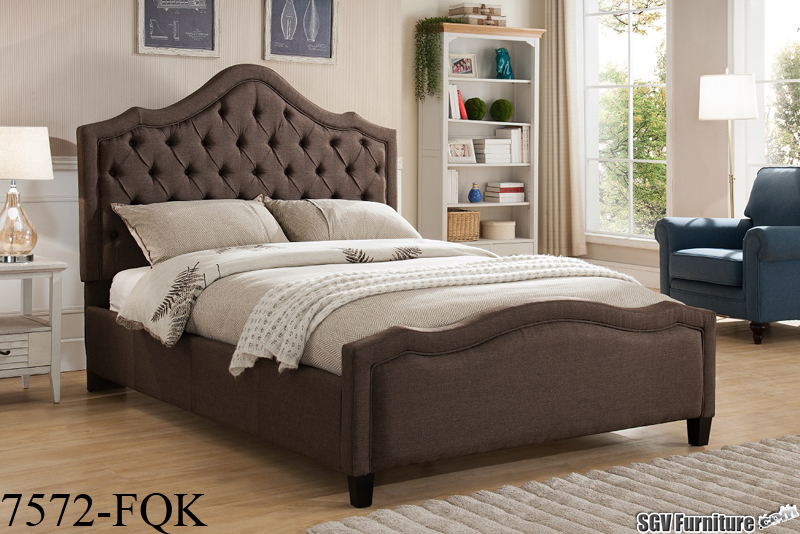 Queen Size Bed Frame w/ Linen Fabric Headboard & Footboard