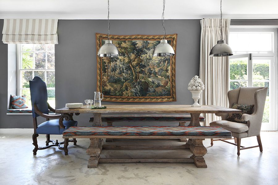 View in gallery Replace the traditional chairs with wooden benches in the dining  room [Design: VSP Interiors