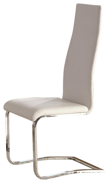 White Faux Leather Dining Chairs With Chrome Legs, Set of 2