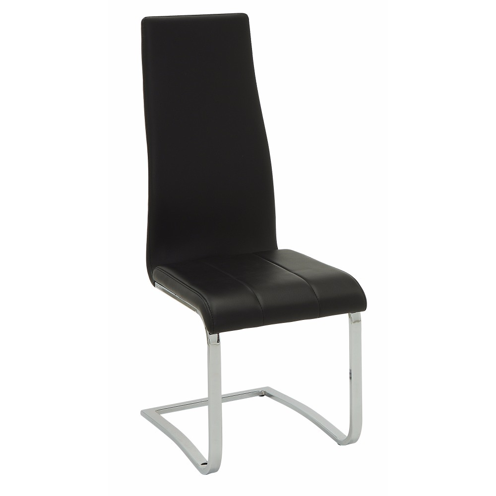 Black Faux Leather Dining Chair with Chrome Legs, Set of 4 - Walmart.com