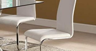 Amazon.com - White Faux Leather Dining Chairs with Chrome Legs (Set