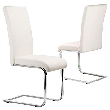 Popamazing Set of 2 Stylish White Durable Faux Leather Dining Chair