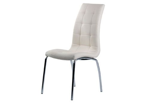 Pair of Nina Ivory Faux Leather Dining Chairs With Chrome Legs