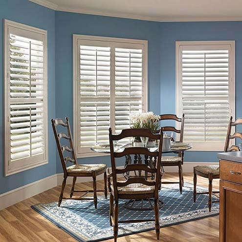 Home window designs using faux wood   plantation shutters