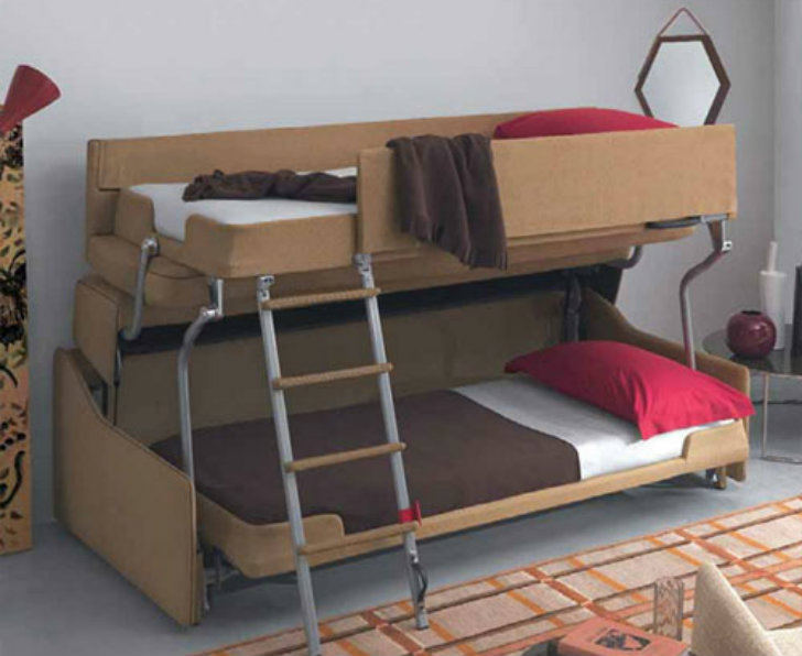 Crazy Transforming Sofa Goes from Couch to Adult-Size Bunk Beds in