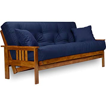 Full Size Futon Frame with Mattress Included (8 Inch Thick Mattress,  Twill Navy Blue Color), More Colors Available, Heavy Duty Wood, Popular Sofa  Bed
